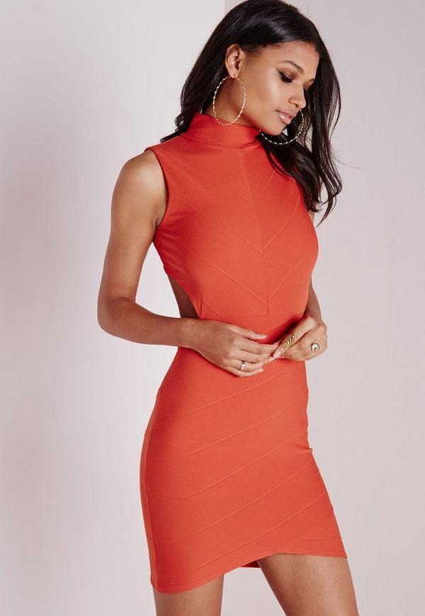 Bandage Wrap Open Back Bodycon Dress Orange