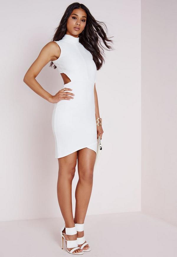 Bandage Wrap Open Back Bodycon Dress White
