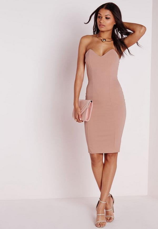 Bandeau Bodycon Midi Dress Taupe Missguided