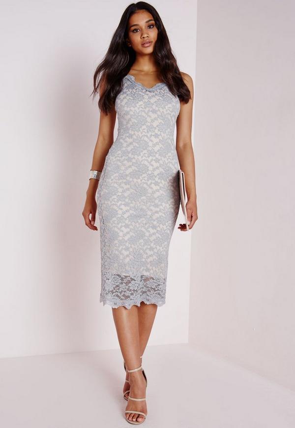 Lace Strappy Midi Dress Grey