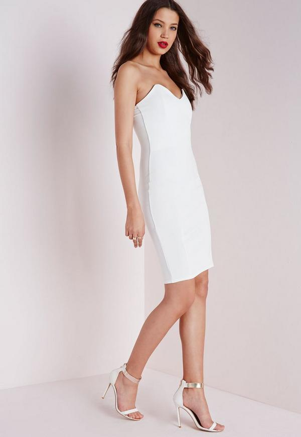 Bandeau Bodycon Midi Dress White