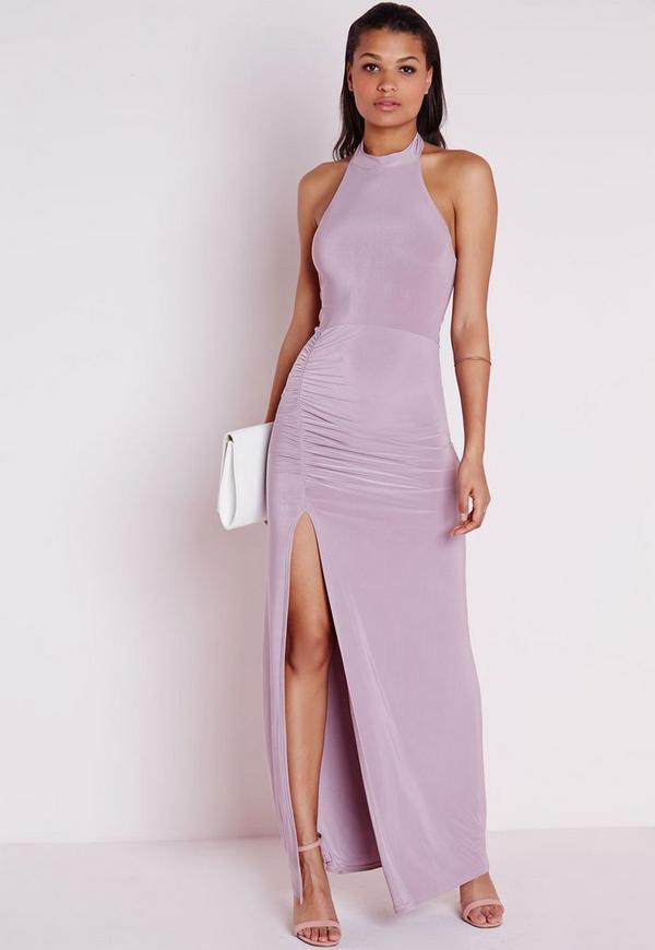 Slinky Ruched Side Split Maxi Dress Mauve