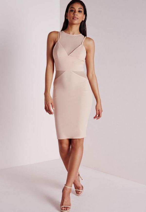 Crepe Strappy Mesh Insert Midi Dress Nude