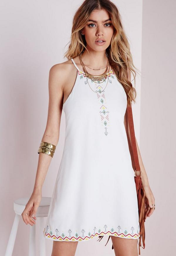 Strappy Embroidered Cami Dress White