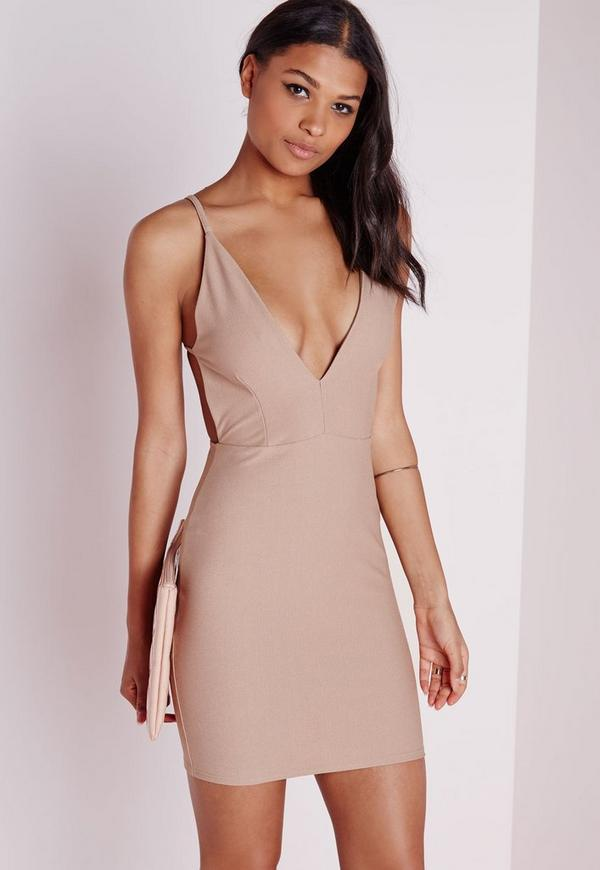 Crepe Extreme Plunge Strappy Bodycon Dress Taupe