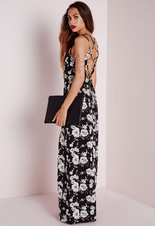 Cross Back Maxi Dress Monochrome Floral
