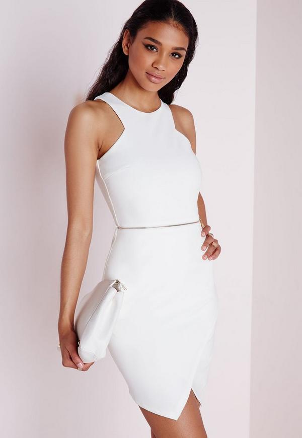 Sleeveless Zip Waist Bodycon Dress Ivory