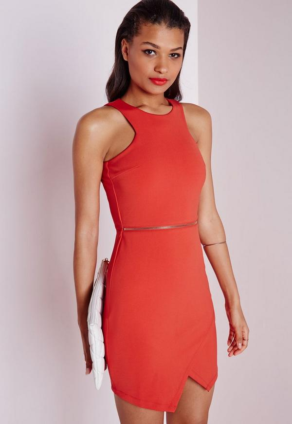 Sleeveless Zip Waist Bodycon Dress Red