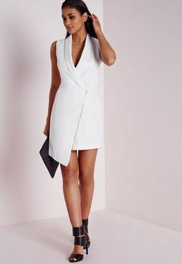 Crepe Sleeveless Blazer Dress White