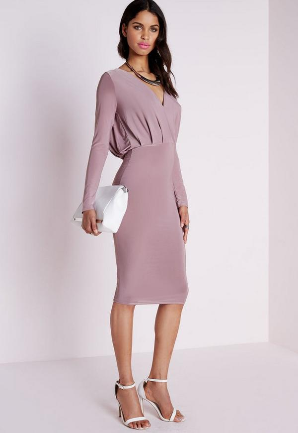 Slinky Plunge Midi Dress Mauve