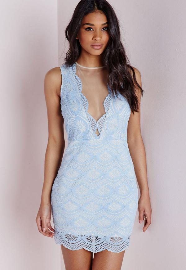 Lace Plunge Bodycon Dress Powder Blue/Nude