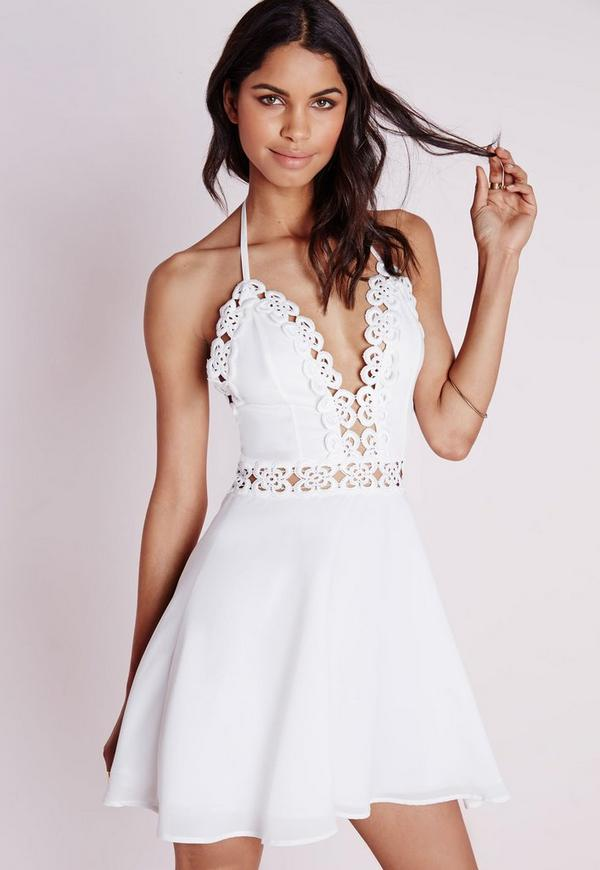 Chiffon Crochet Trim Skater Dress White