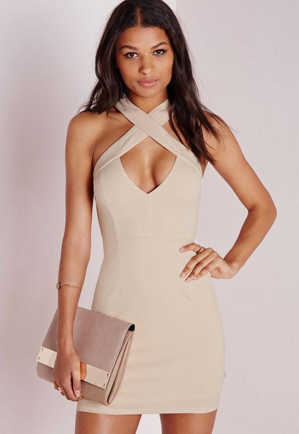 Crepe Cross Strap Mini Dress Nude