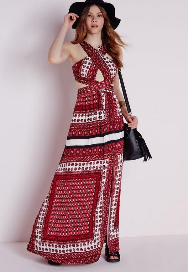 Cross Front Maxi Dress Red Scarf Print