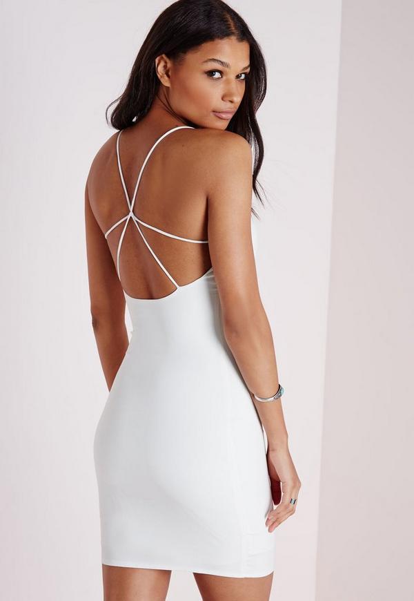 Strap Detail Mini Dress White
