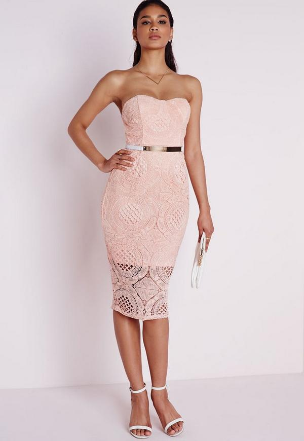 Lace Bandeau Bodycon Dress Blush