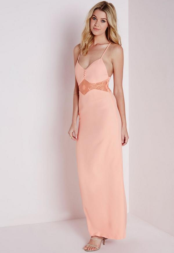 Crepe Strappy Lace Waist Detail Maxi Dress Blush