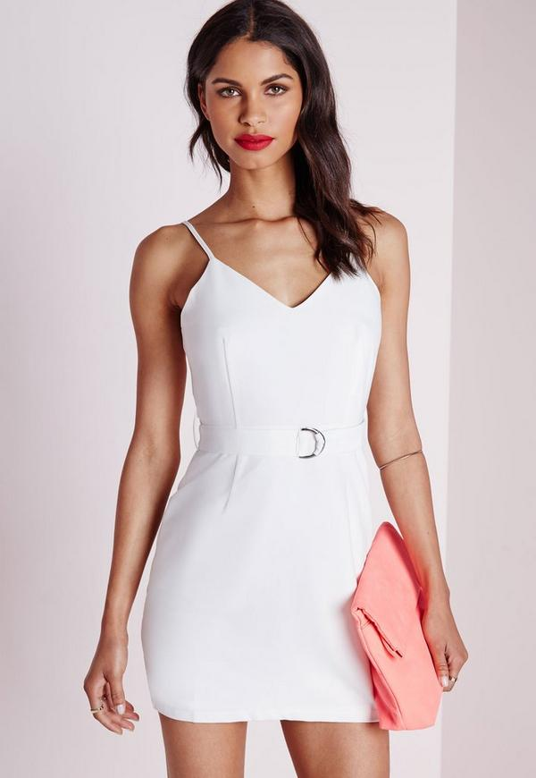 Stretch Crepe D-Ring Dress White