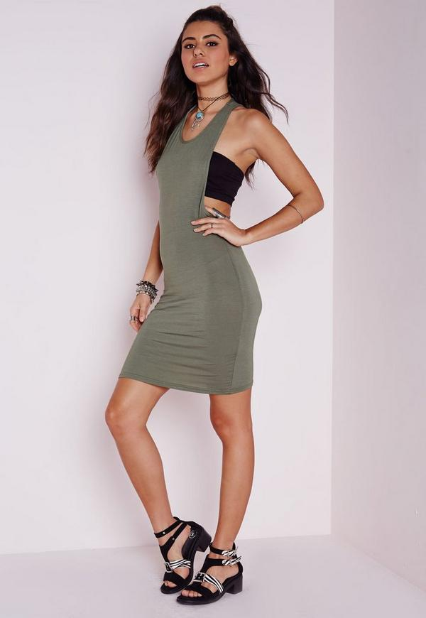 Jersey Twist Back Bodycon Dress Khaki