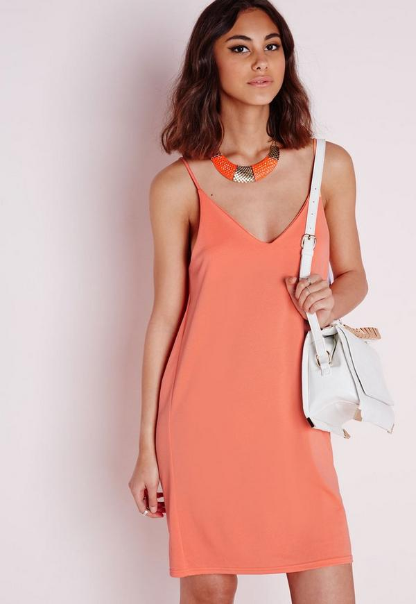 Cowl Back Cami Dress Orange