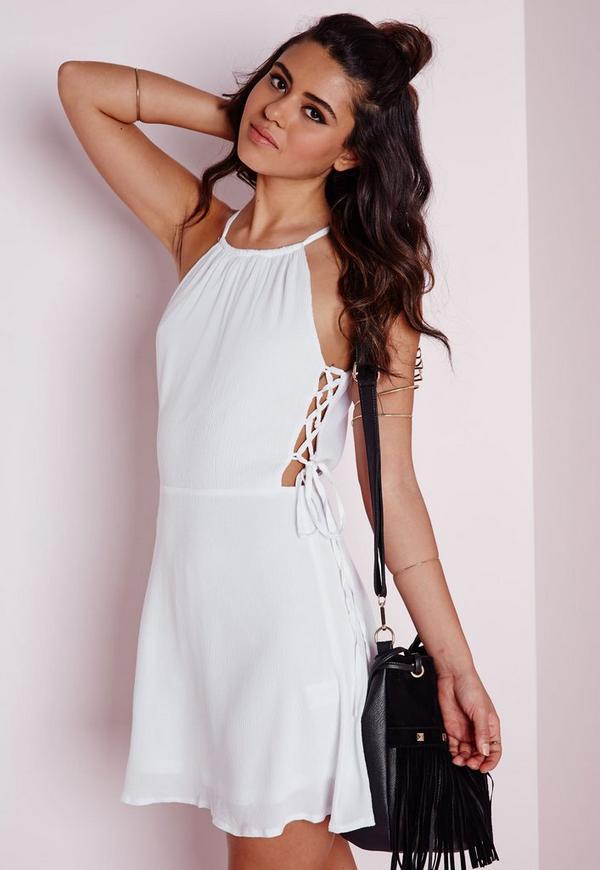 Lace Up Side Skater Dress White