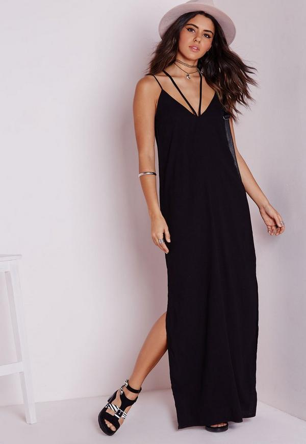 Crepe Plunge Neck Maxi Dress Strap Detail Black