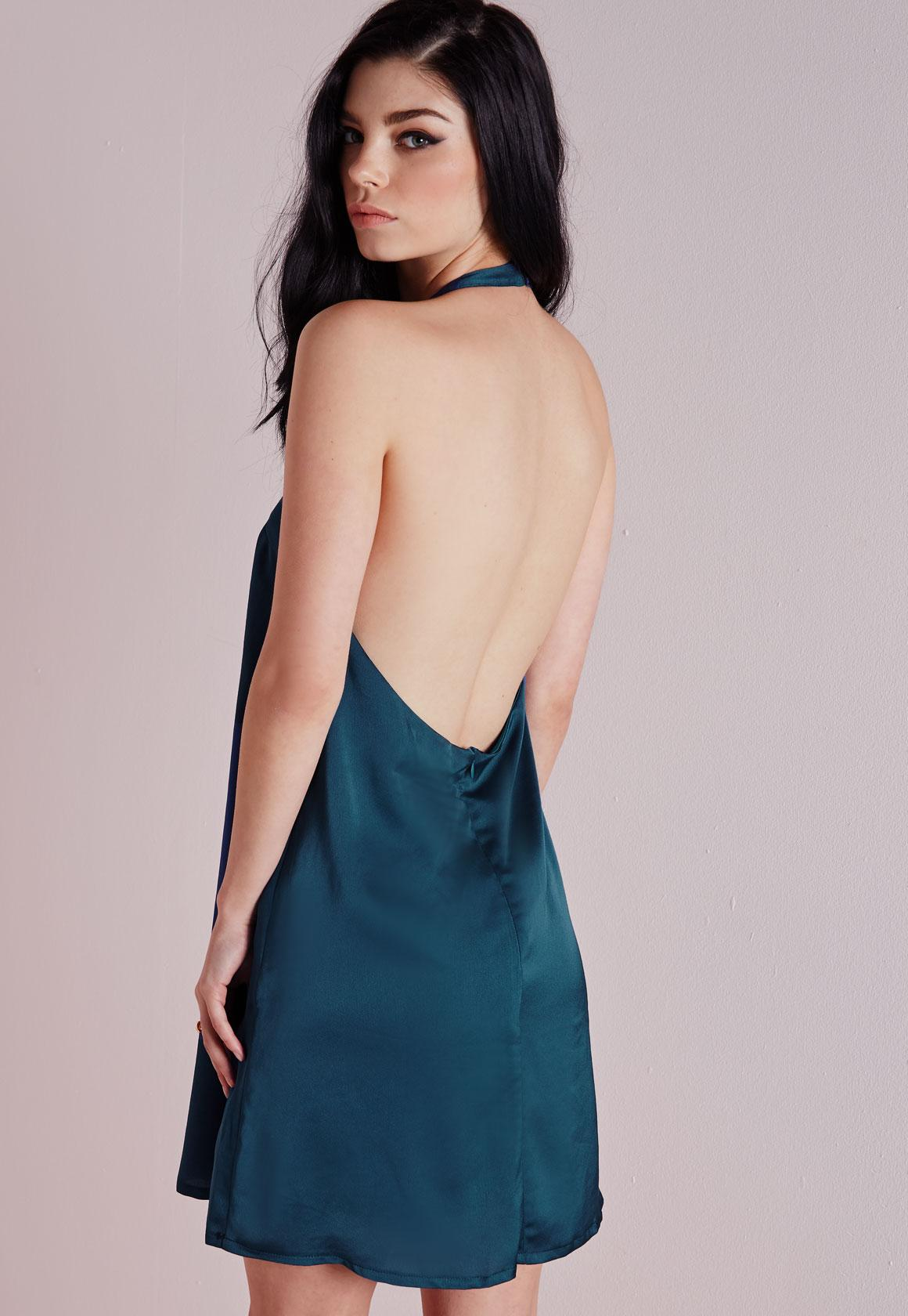 Silky Backless Shift Dress Teal - Dresses - Shift Dresses - Missguided
