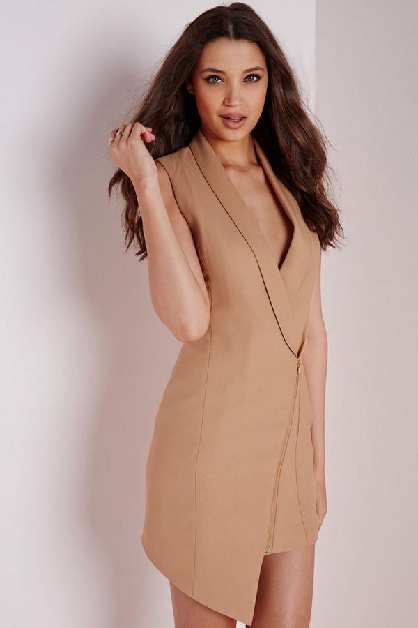 Crepe Sleeveless Blazer Dress Camel