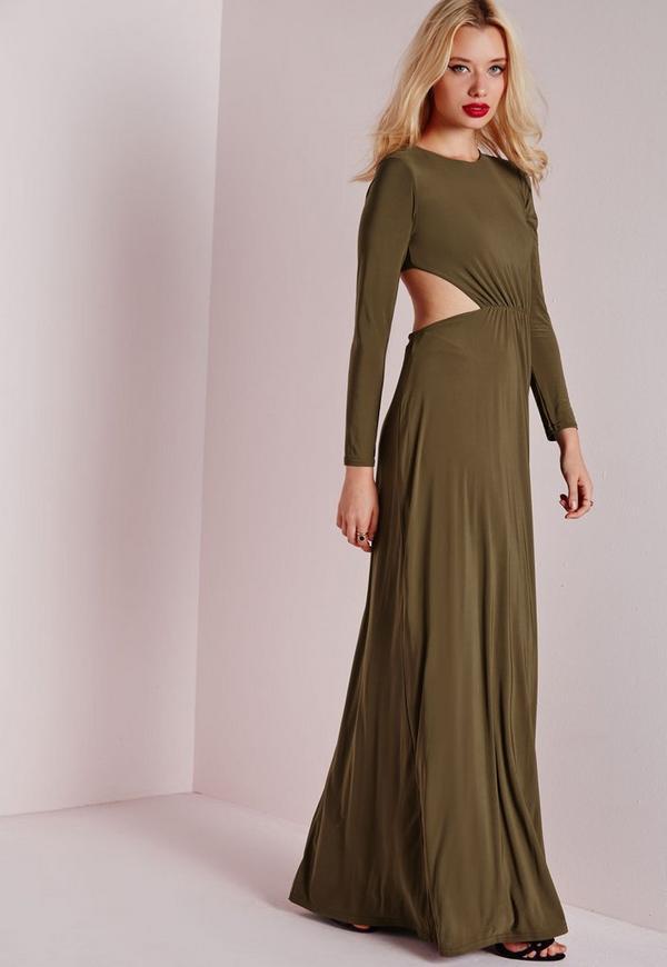 robe longue fluide vert kaki fronc e la taille missguided. Black Bedroom Furniture Sets. Home Design Ideas