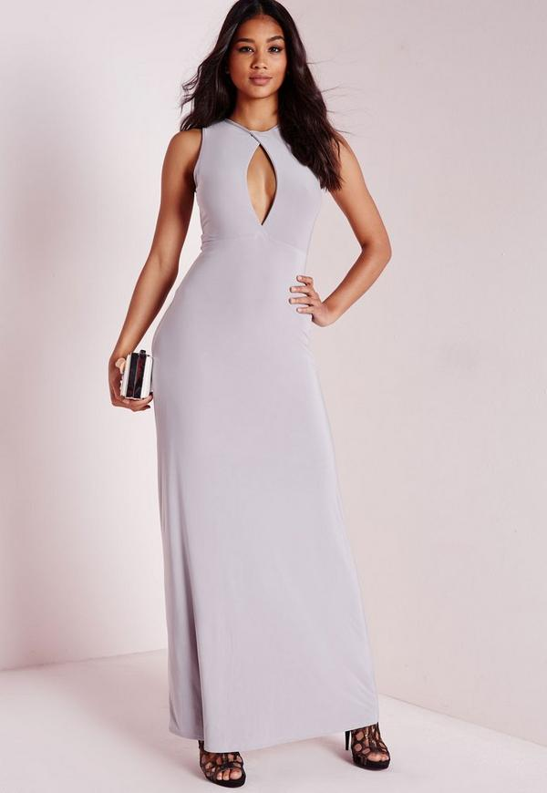 Slinky Cut Out Maxi Dress Ice Grey