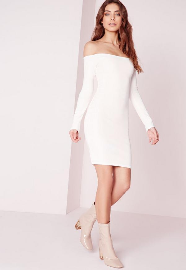Long Sleeve Heavy Rib Bardot Bodycon Dress White