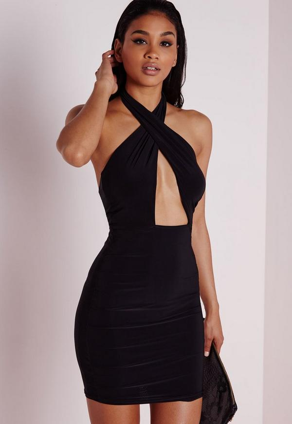 Slinky Cross Front Halterneck Cut Out Bodycon Dress Black