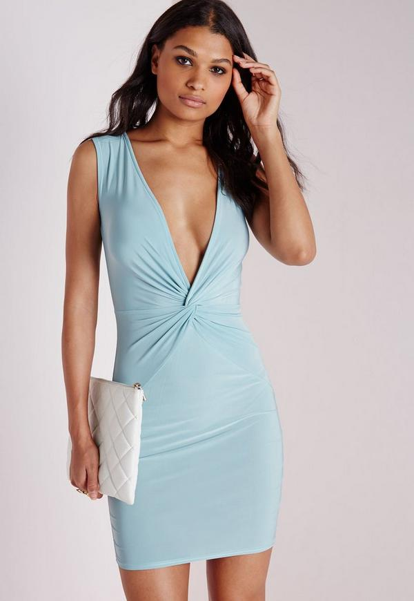 Slinky Knot Front Bodycon Dress Powder Blue