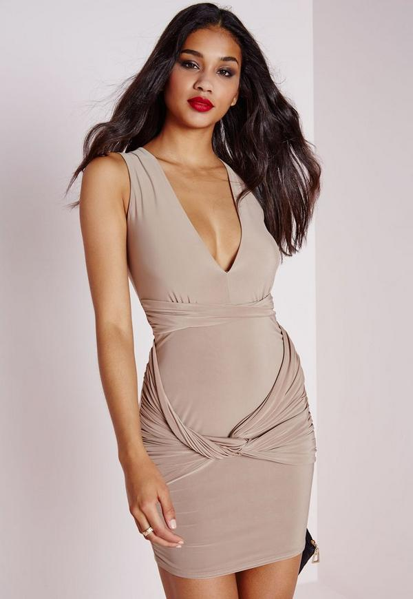 Slinky Plunge Sleeveless Bodycon Dress Taupe