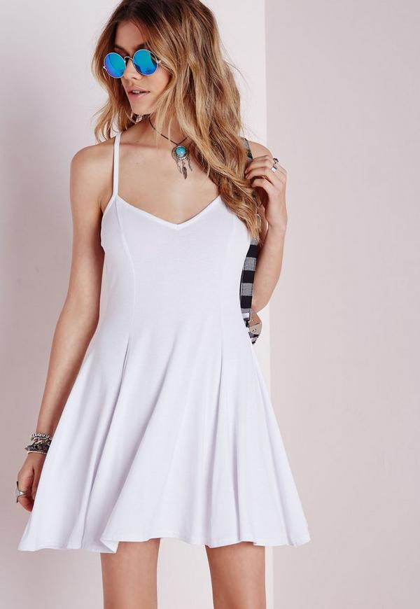 Strappy Skater Dress White