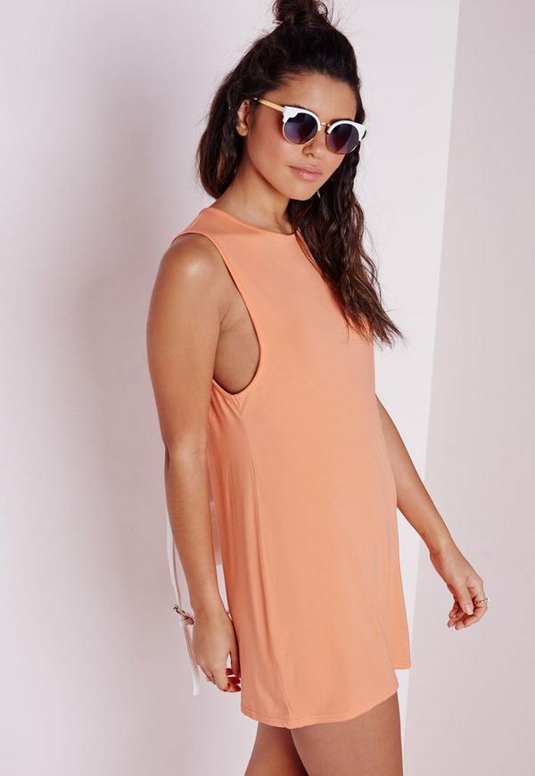 Low Armhole Jersey Shift Dress Orange