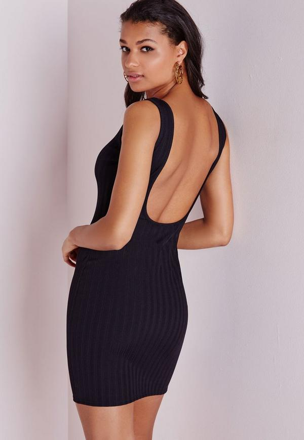 Scoop Back Bodycon Dress Black Bandage