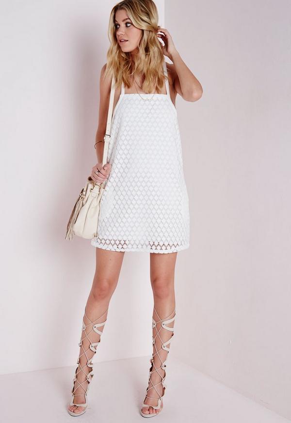 Cross Strap Crochet Swing Dress Ivory