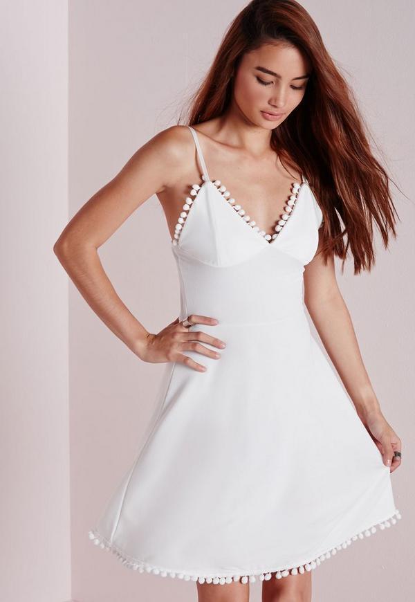 Crepe Pom Pom Trim Skater Dress White