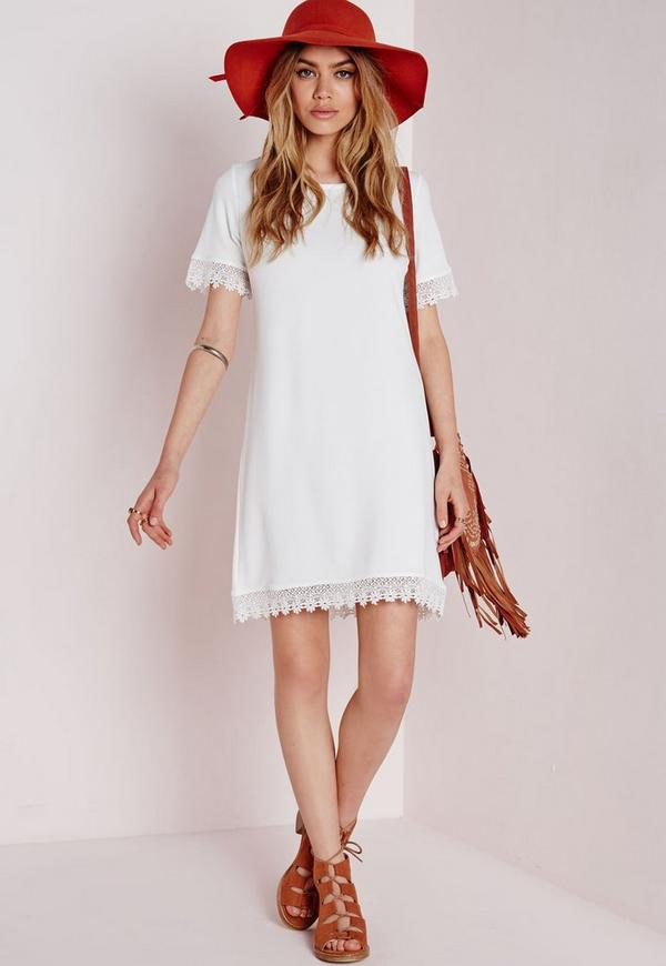 Crochet Trim T-Shirt Dress Ivory