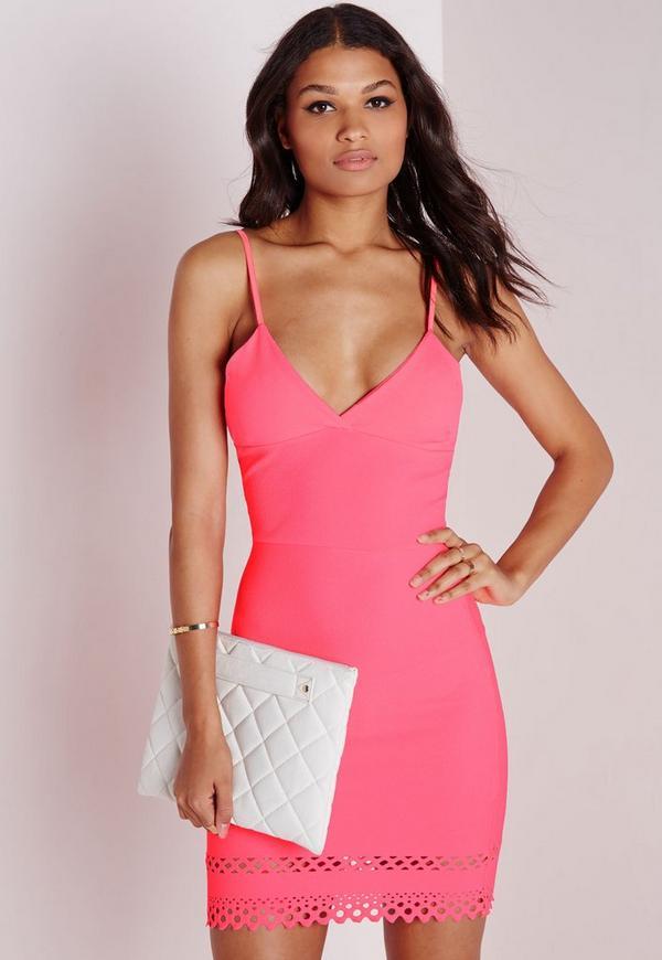 Laser Cut Hem Bodycon Dress Pink