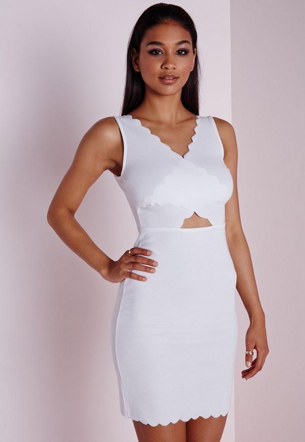 Scallop Wrap Bodycon Dress White