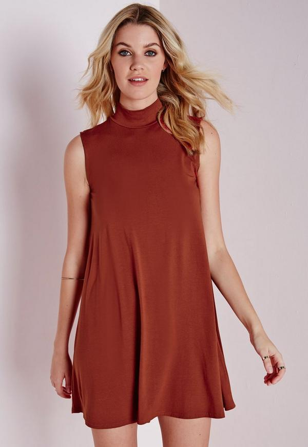 Jersey Sleeveless Swing Dress Rust