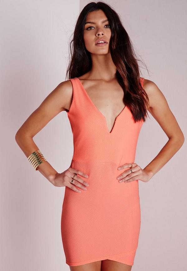 Textured V Plunge Bodycon Dress Orange