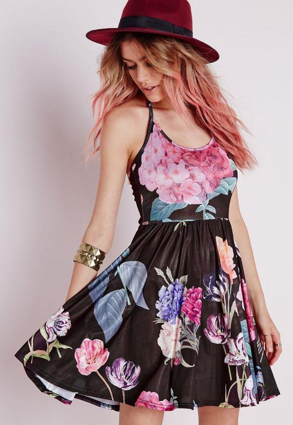 Halterneck Slinky Skater Dress Black Floral