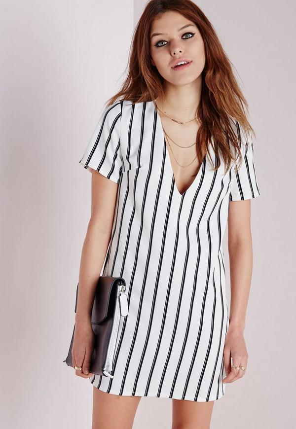 Plunge Boxy Shift Dress White/Black Stripe
