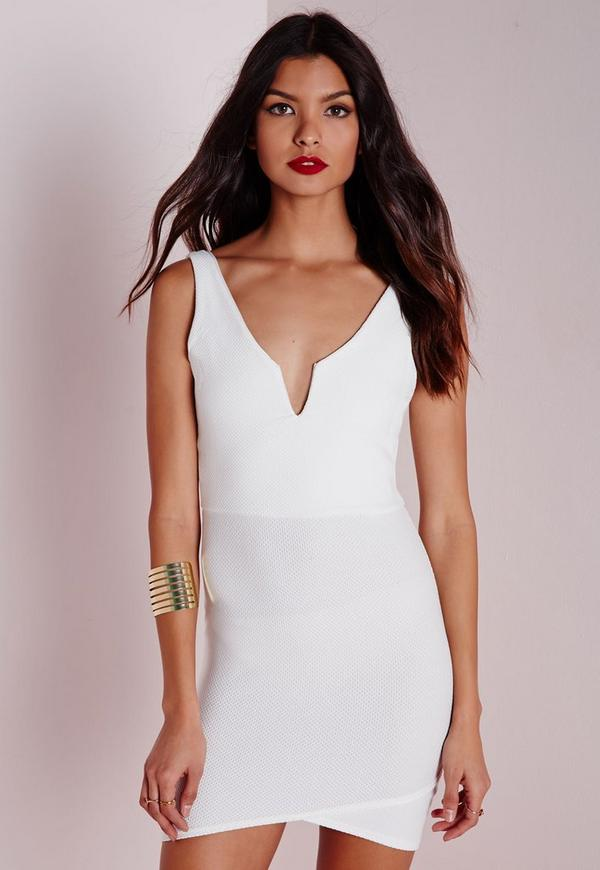 Textured V Plunge Bodycon Dress White