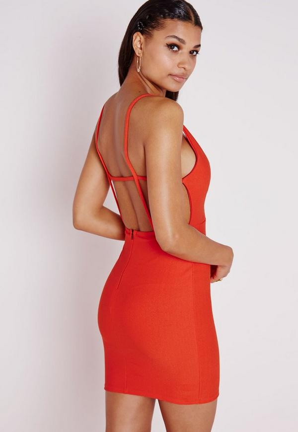 Crepe Extreme Plunge Strappy Bodycon Dress Orange