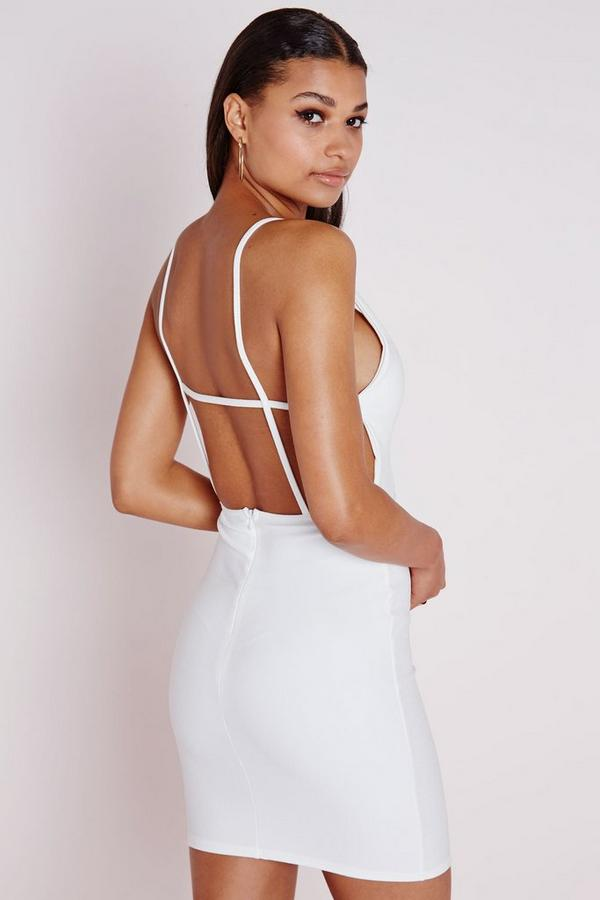 Crepe Extreme Plunge Strappy Bodycon Dress White