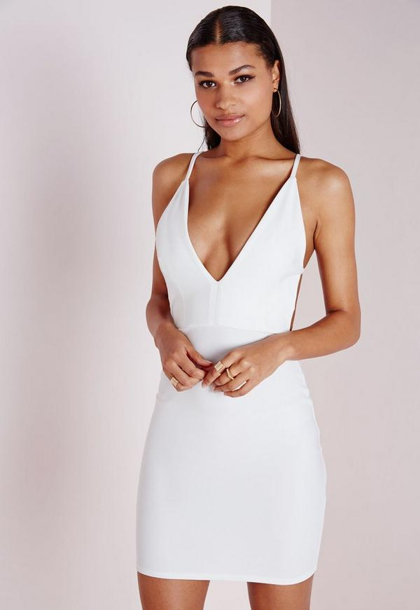 Crepe Extreme Plunge Strappy Bodycon Dress White | Missguided
